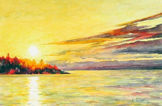 Evening on the Bay, watercolor, Linda Koenig
