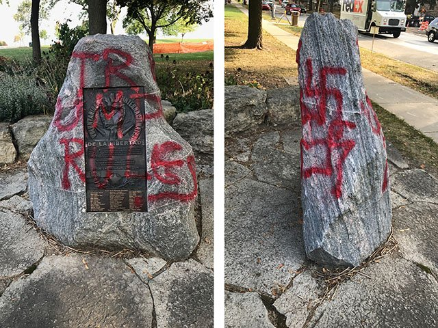 Graffiti, including swastikas, painted on memorial outside Madison synagogue