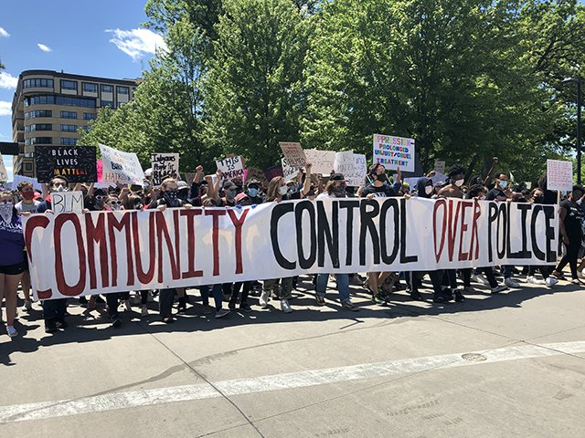 Protesters demanding community control of the police on May 30.