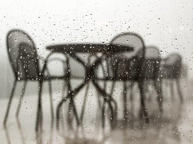 table in rain