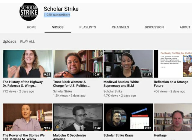 Scholar Strike - screen shot of You Tube presentations