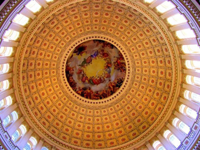 """U.S. Capitol ceiling, """"Inside the dome of the U.S. Capitol Building, Washington DC"""" by o palsson is licensed under CC BY 2.0"""