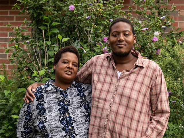 Angie Powell and her son - Bayview residents