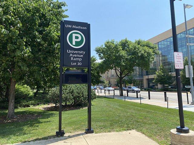 UW-Madison Parking ramp sign