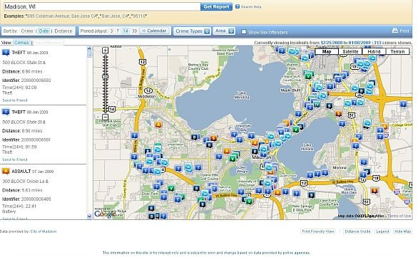 Madison police launch crime map website at CrimeReports.com ... on